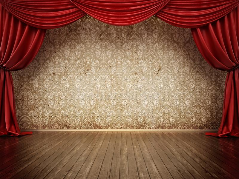 Theater stage with red curtain and parquet ground. 3D illustration.  vector illustration