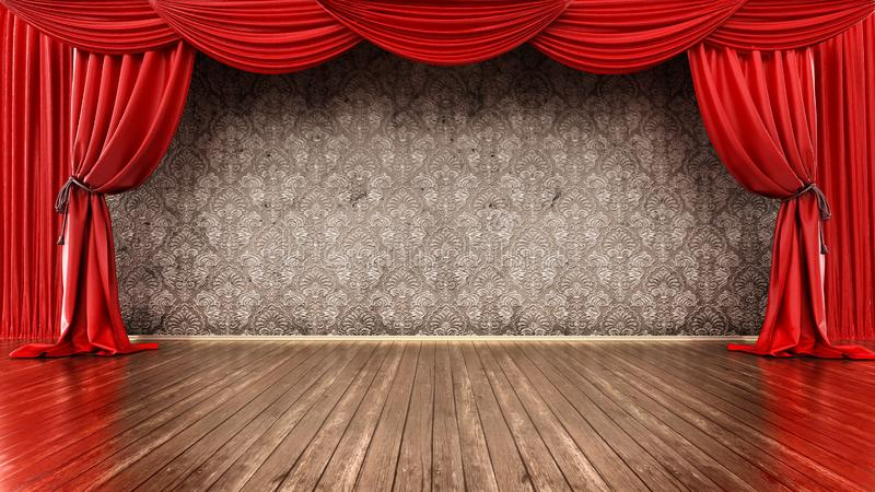 Theater stage with red curtain and parquet ground. 3D illustration.  royalty free illustration