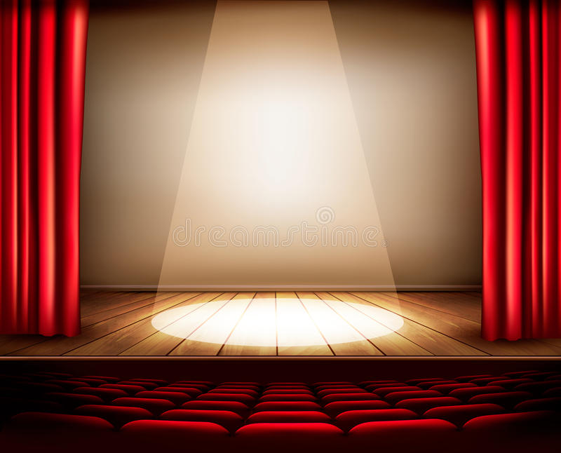 A theater stage with a red curtain, seats and a spotlight. stock illustration