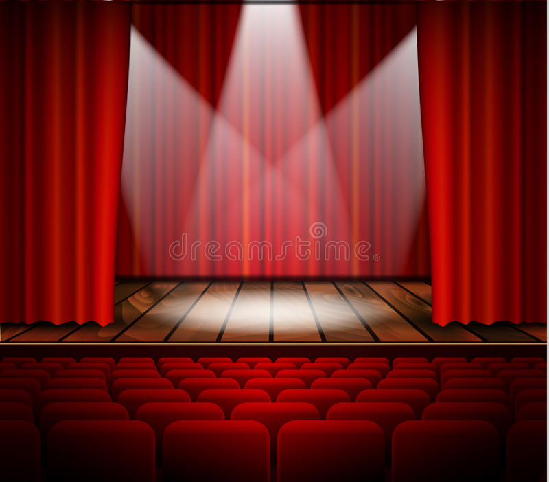 Theater stage with a red curtain. A theater stage with a red curtain, seats and a spotlight. Vector vector illustration