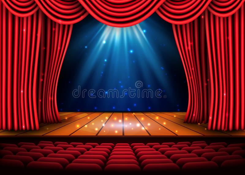 A theater stage with a red curtain and a spotlight and wooden floor. Festival Night Show poster. Vector royalty free illustration
