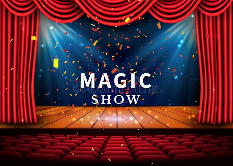 A theater stage with a red curtain and a spotlight and wooden floor. Magic Show poster. Vector.  royalty free illustration