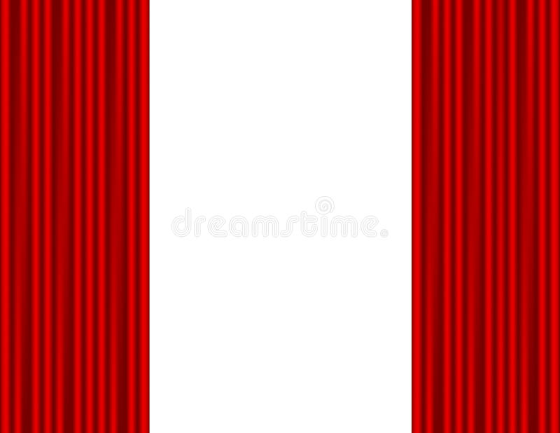 Theater Stage With Red Curtain White Background Stock Vector