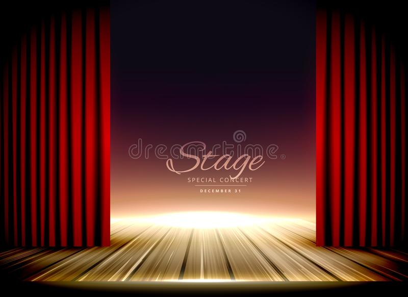 Theater stage with red curtains and wooden floor vector illustration