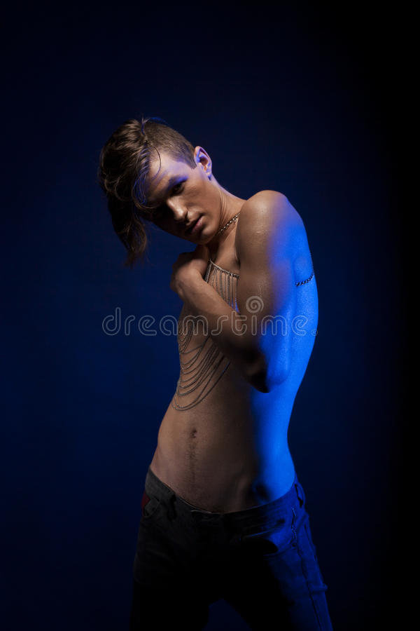 Theater. Undressed Handsome Man In Dramatic Pose. Naked Torso Stock Photo