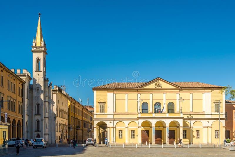 Theater van Ariosto op de plaats van Vittoria in Reggio Emilia - Italië stock foto's