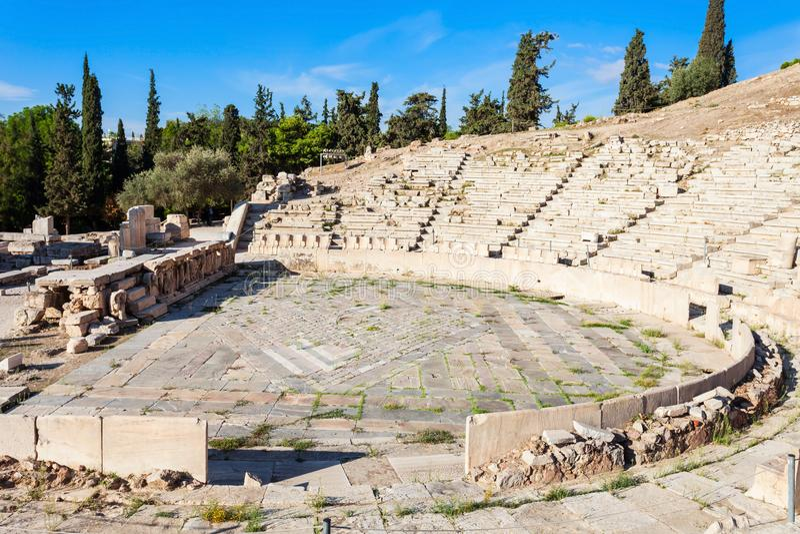 Theater van Dionysus, Akropolis stock afbeelding