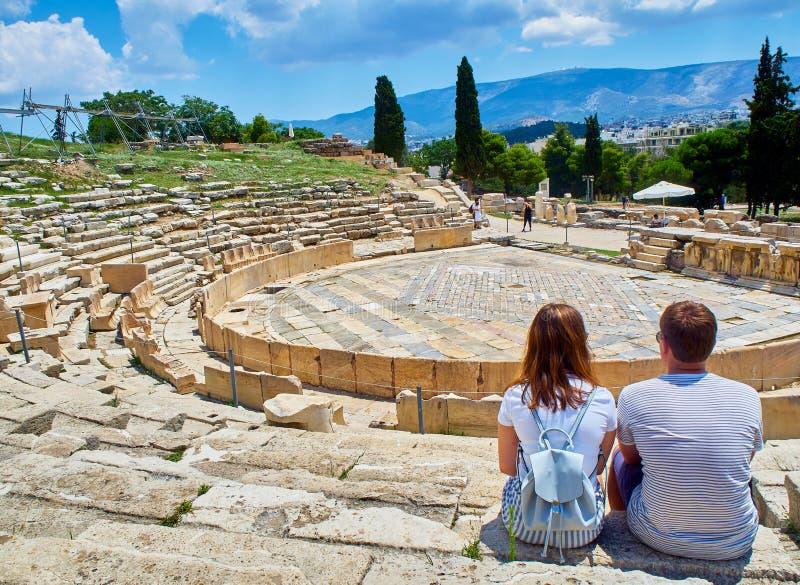 Theater van Dionysus bij Akropolis van Athene Attica gebied, Griekenland stock afbeelding