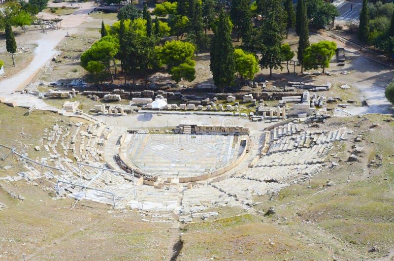 Theater van Dionysus op Akropolisheuvel, Athene, Griekenland stock fotografie