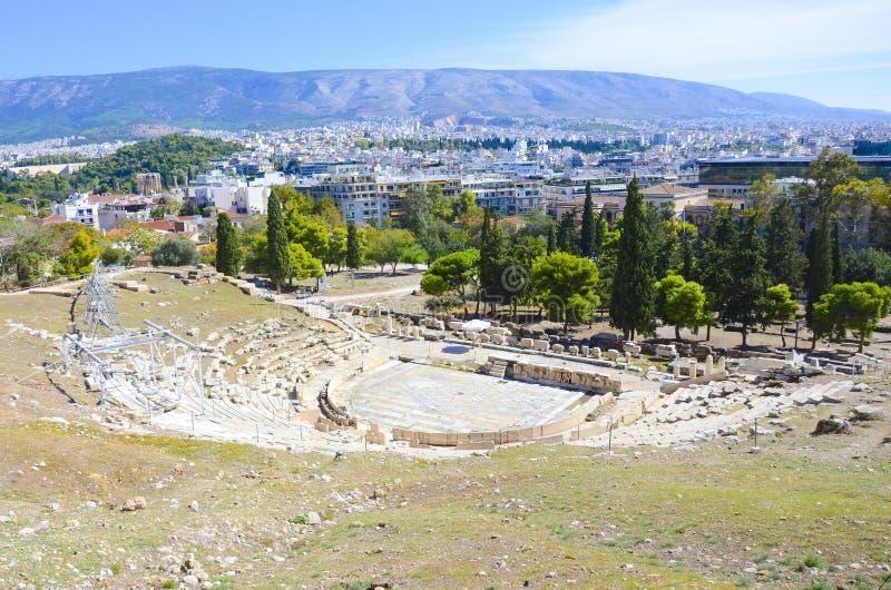 Theater van Dionysus op Akropolisheuvel, Athene, Griekenland stock afbeelding