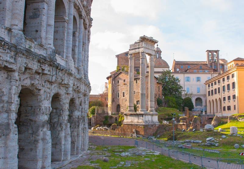 Theater van Marcellus, Rome Italië royalty-vrije stock afbeelding