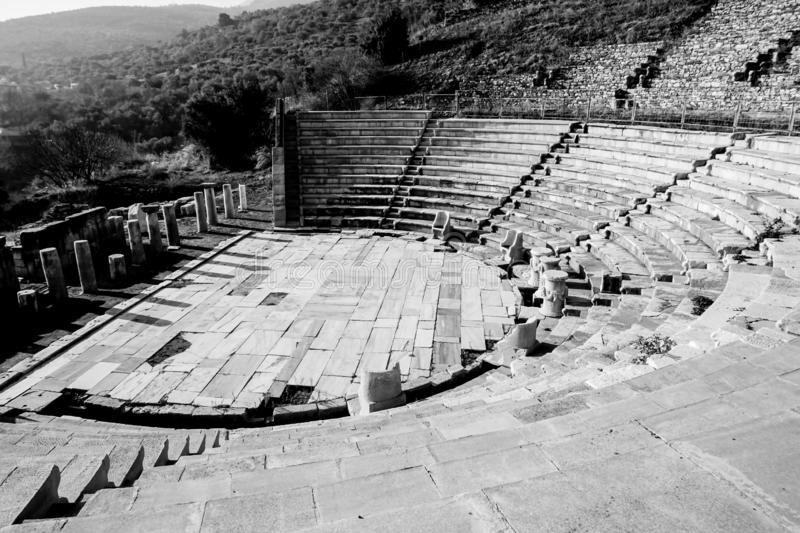 Theater view from Metropolis Ancient City. Torbalı, Izmir, Turkey. Ancient and ruins stock image
