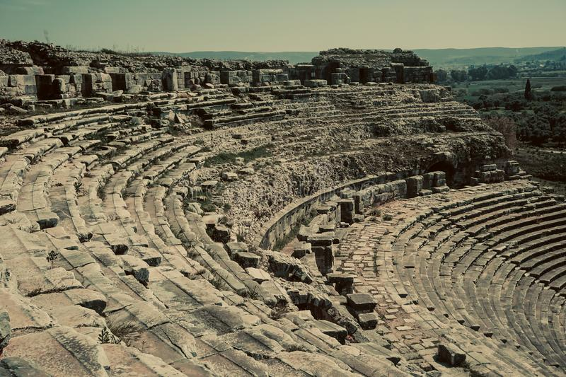 Theater view from Miletos ancient city. Milet, Aydin, Turkey royalty free stock image