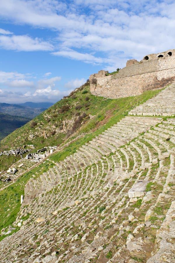 Theater von Pergamon in der Türkei stockfotografie