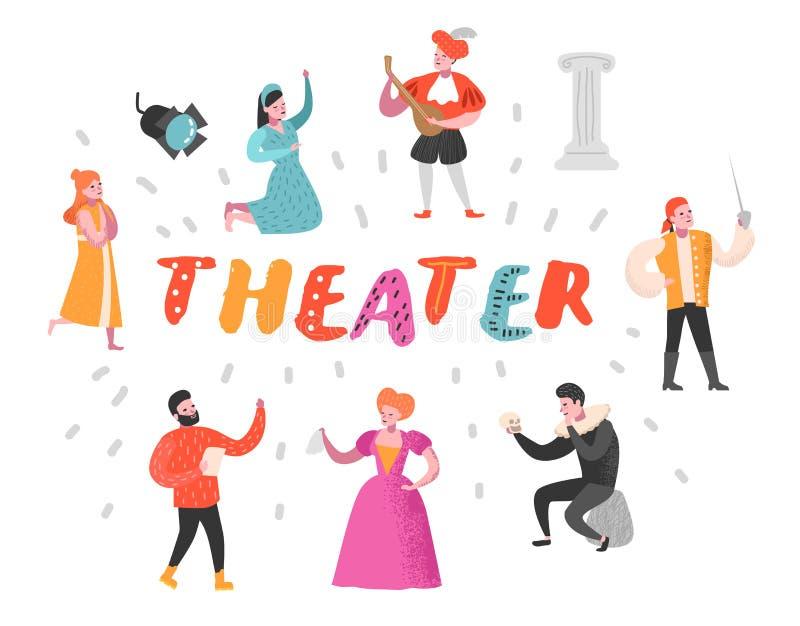 Theateracteur Characters Set Vlakke Mensen Theatrale Perfomances Artistieke Man en Vrouw op Stadium vector illustratie