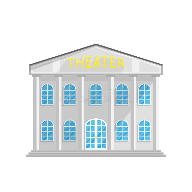 Theaterartgebäude in der Ebene lokalisiert auf weißem Hintergrund lizenzfreie abbildung