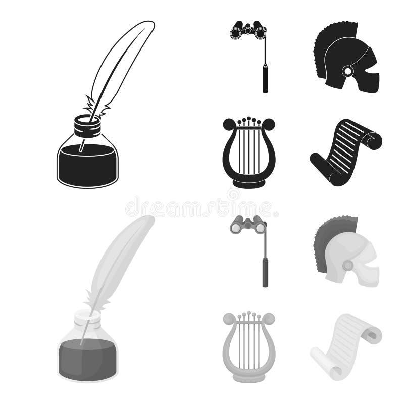 Theaterferngläser, ein Sturzhelm, eine Harfe und eine Papierrolle Die gesetzten Sammlungsikonen des Theaters im Schwarzen, monoch stock abbildung