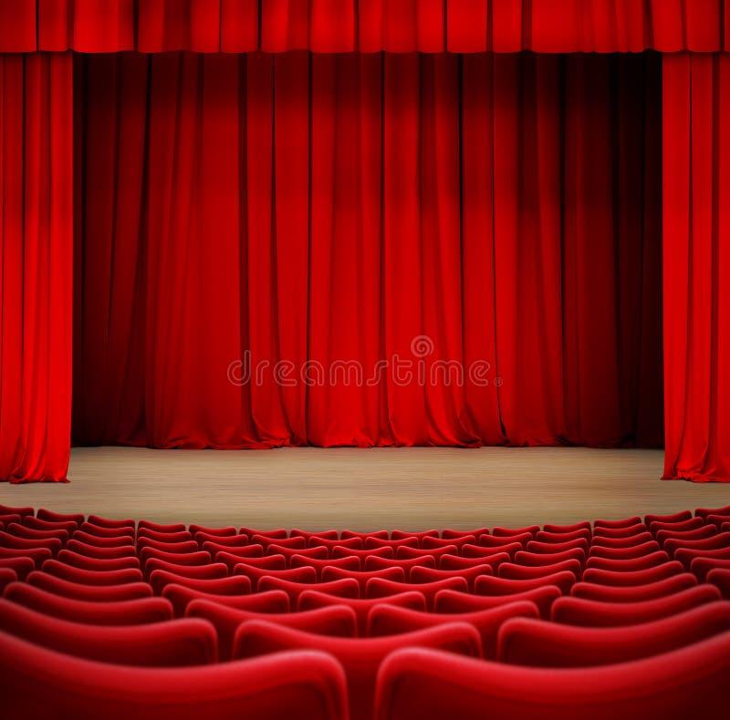 Theatergordijn op stadium met rode zetels 3d illustratie vector illustratie