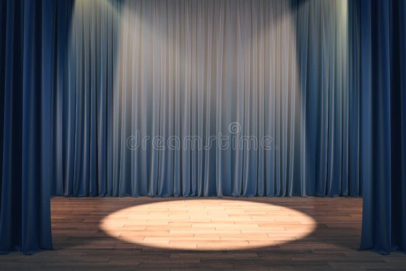 Theatergordijnen met schijnwerper royalty-vrije illustratie
