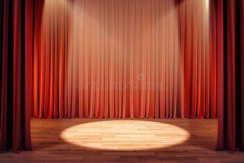 Theatergordijnen met schijnwerper stock illustratie