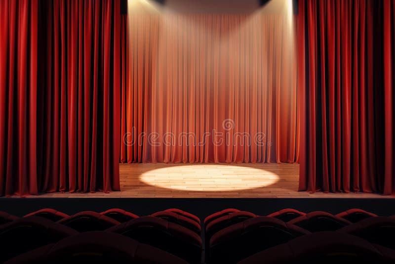 Theatergordijnen met schijnwerper vector illustratie