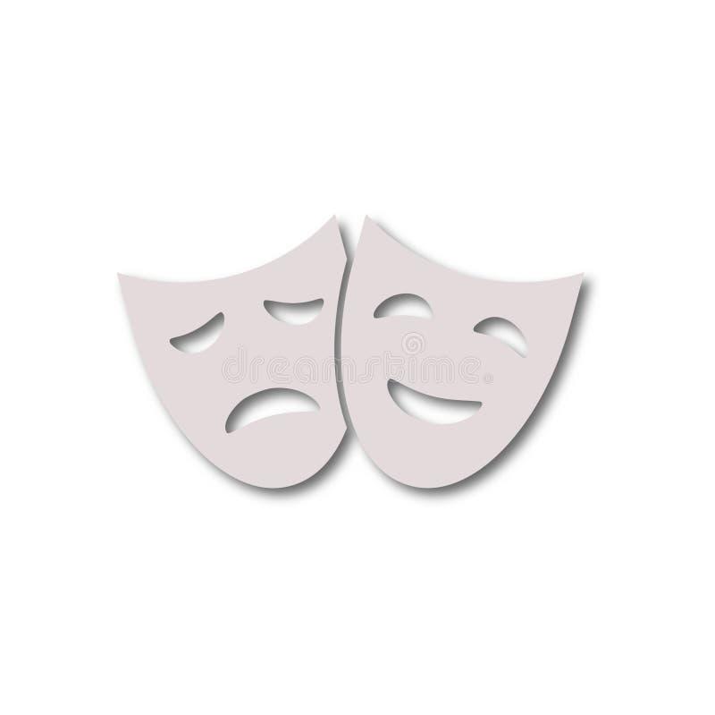 Theaterikone mit den glücklichen und traurigen Masken stock abbildung