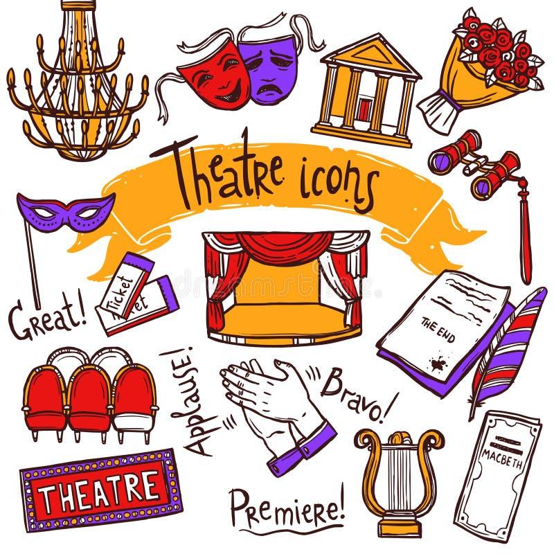 Theaterikonen eingestellt lizenzfreie abbildung