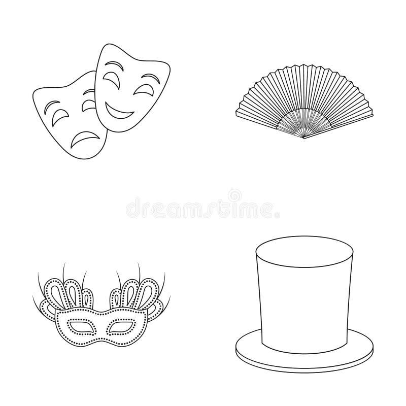 Theatermaske, Zylinder, Fan, Maske auf den Augen Vector gesetzte Sammlungsikonen des Theaters in der Entwurfsart Symbolvorrat stock abbildung