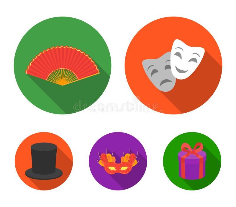 Theatermaske, Zylinder, Fan, Maske auf den Augen Vector gesetzte Sammlungsikonen des Theaters in der flachen Art Symbolvorrat lizenzfreie abbildung