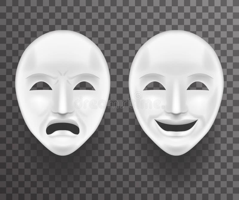 Theatermasken-Traurigkeit und Ikonen-Schablonen-Hintergrund-Spott Joy White Actor Play Faces antiker realistischer 3d Transperent stock abbildung
