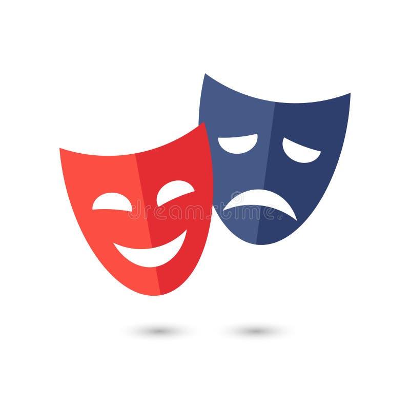 Theatermasken, Vektorikone auf weißem Hintergrund lizenzfreie abbildung
