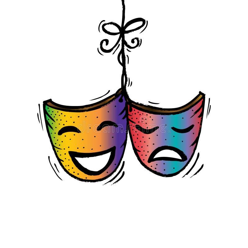 Theatermaskers, drama en komedie vector illustratie