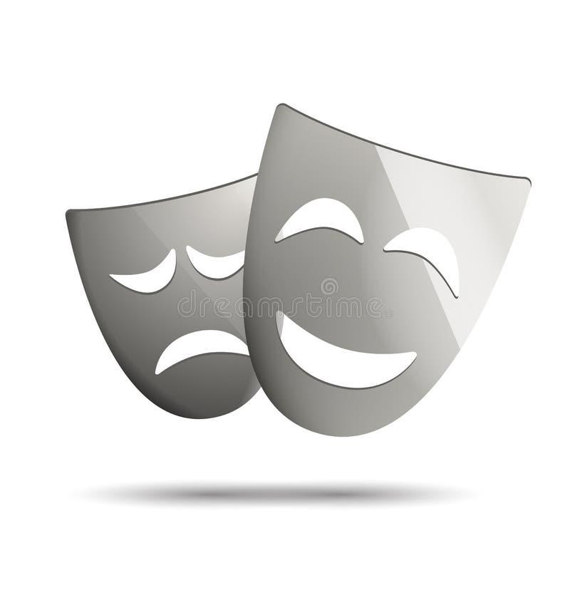 Theatermaskers van drama en komedie stock illustratie