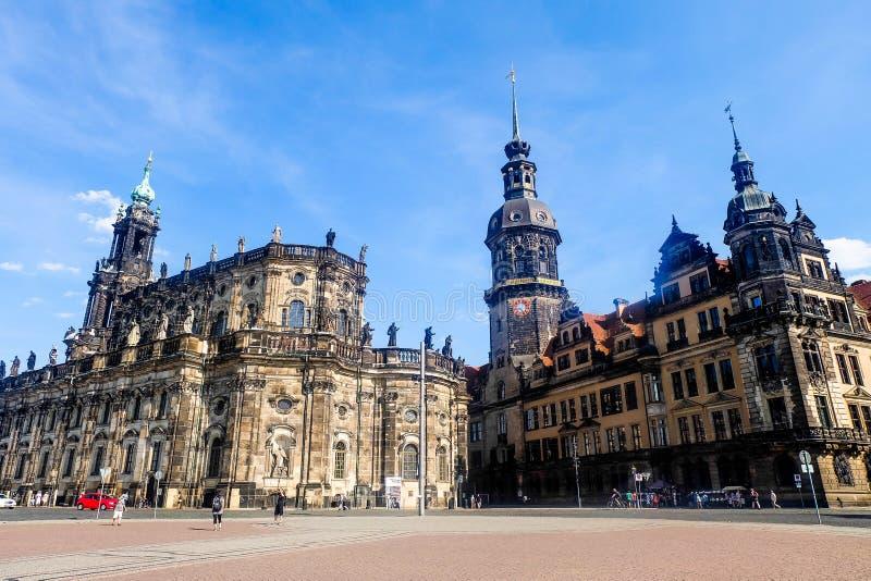 Theaterplatz-Quadrat in Dresden Deutschland stockfoto
