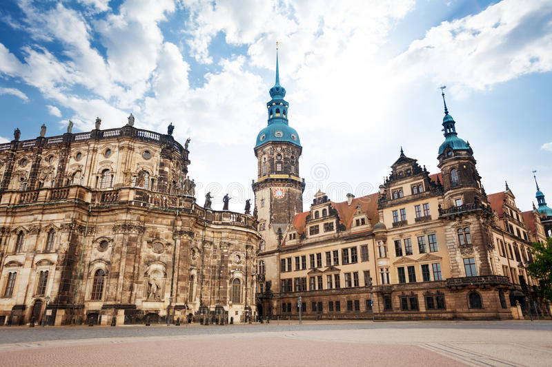 Theaterplatz square in Dresden Germany. On sunny summer day royalty free stock image