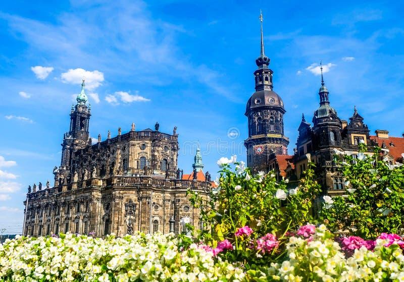 Theaterplatzvierkant in Dresden Duitsland royalty-vrije stock foto