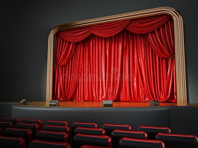 Theaterraum mit roten Sitzplätzen Abbildung 3D lizenzfreie abbildung