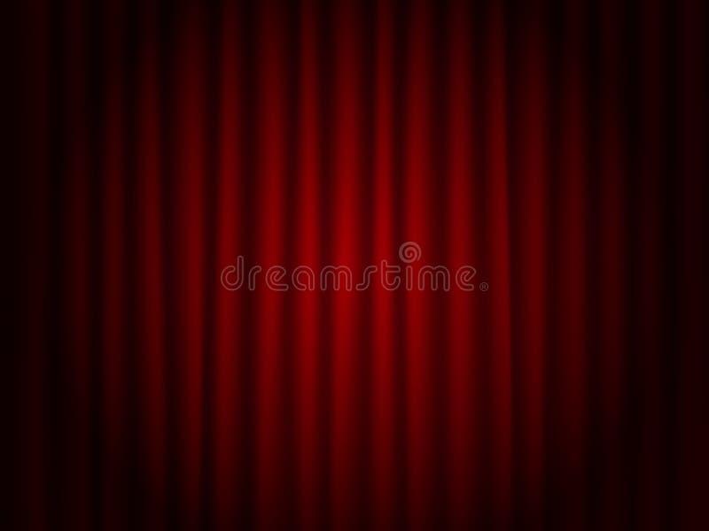 Theaterrot drapieren Hintergrund M?dchen in einem Hut und mit einem schwarzen kleinen Beutel, der ihre Rolle auf der Stufe spielt vektor abbildung