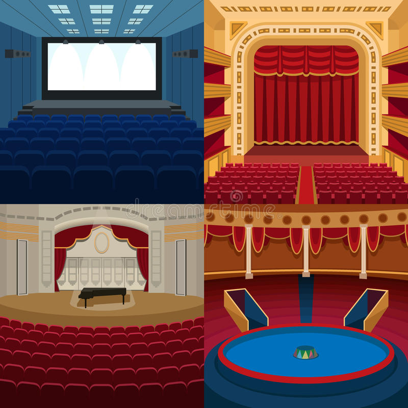 Theaters and scene background vector. vector illustration