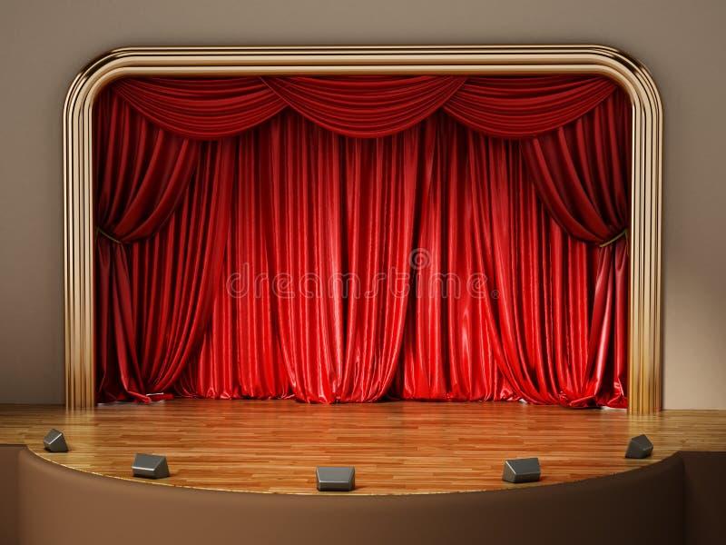 Theaterstadium mit geschlossenem rotem Vorhang Abbildung 3D lizenzfreie abbildung