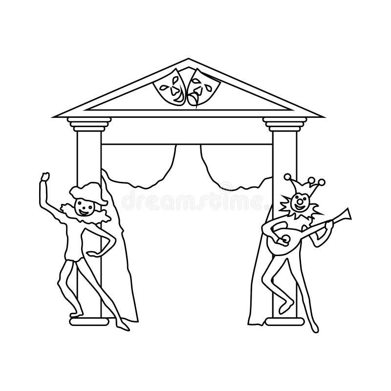 Theaterstadium mit offener Vorhang- und Schauspielerikone lizenzfreie abbildung