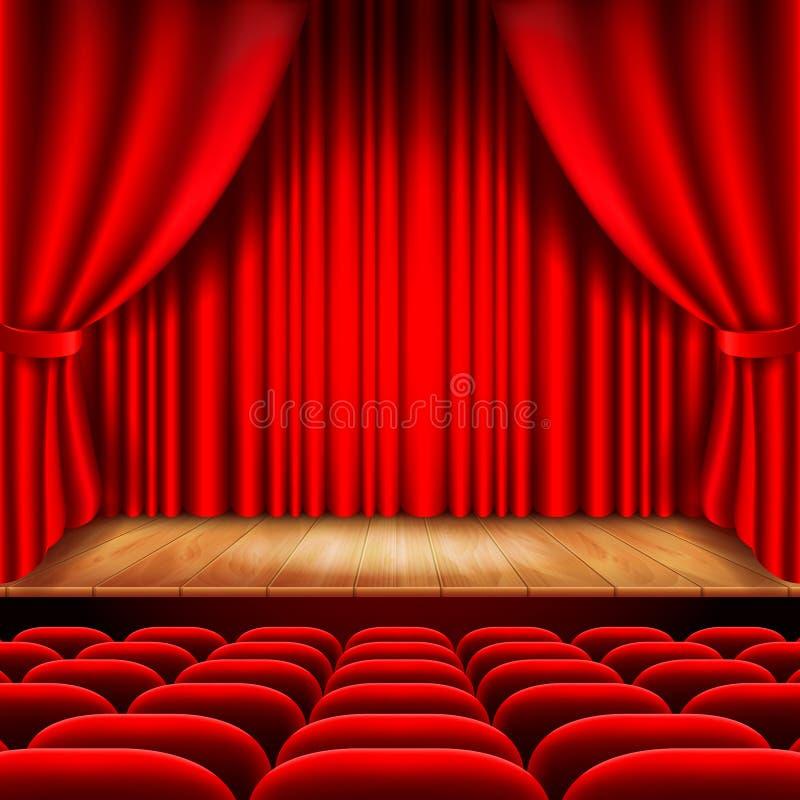Theaterstadium mit rotem Vorhang- und Sitzvektor lizenzfreie abbildung