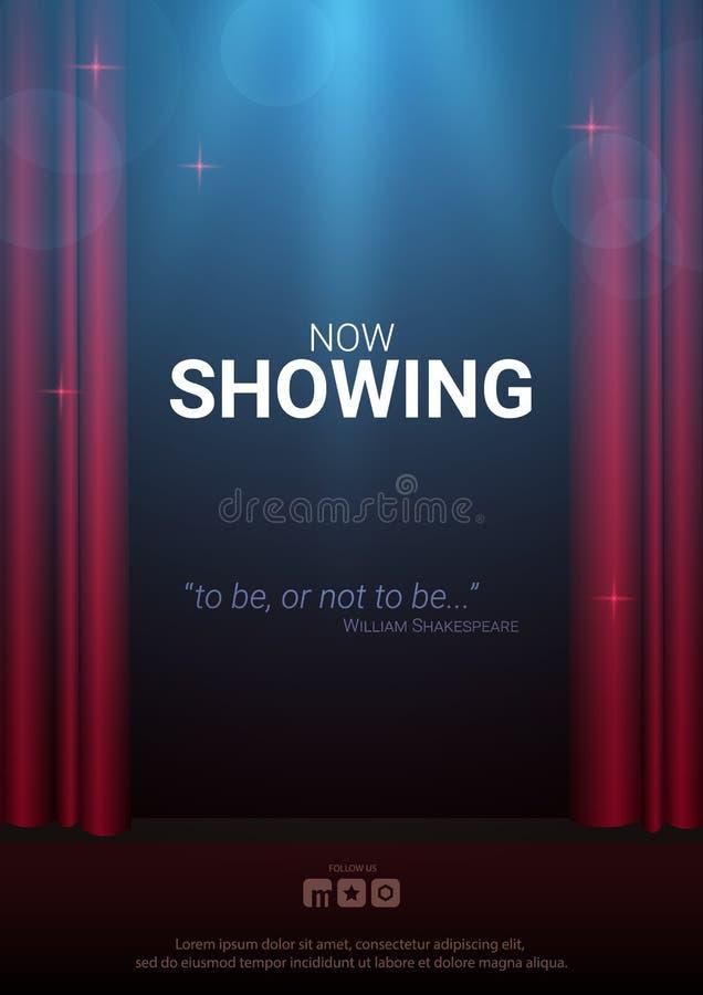 Theaterstadium Rode gordijnenstadium, theater of operaachtergrond met schijnwerper De festivalnacht toont banner royalty-vrije illustratie