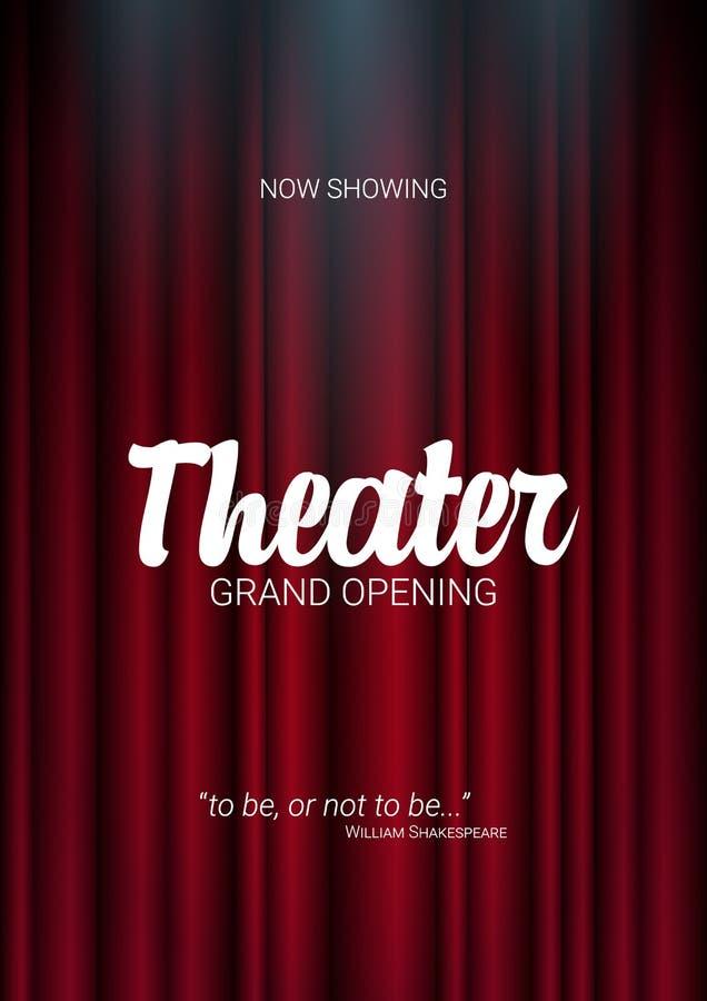 Theaterstadium Rode gordijnenstadium, theater of operaachtergrond met schijnwerper De festivalnacht toont banner vector illustratie