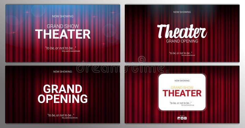 Theaterstadium Rode gordijnenstadium, theater of operaachtergrond met schijnwerper De festivalnacht toont banner stock illustratie