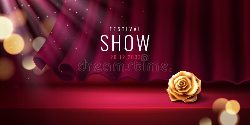 Theaterstadium und -vorhang für Festivalfahne stock abbildung