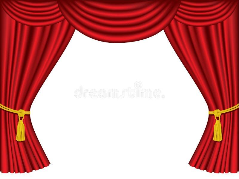 Theatertrennvorhänge mit Exemplarplatz lizenzfreie abbildung