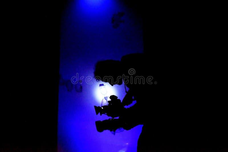 Theatervideodreh-Fernsehbetreiber stockfoto
