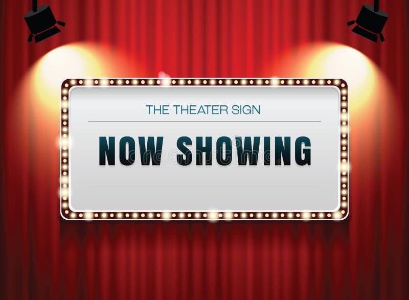 Theaterzeichen auf Vorhang stockbild