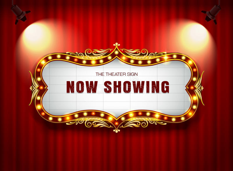 Theaterzeichen auf Vorhang lizenzfreies stockfoto